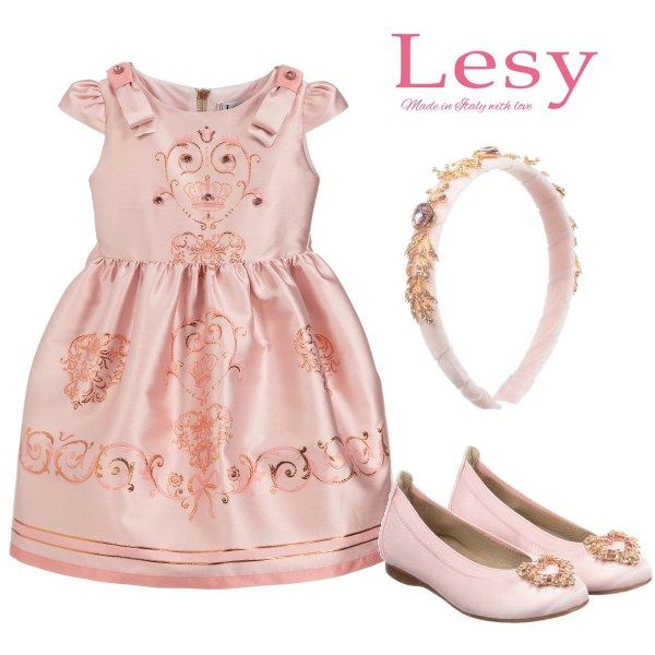 Lesy Pink Jacquard Jewelled & Embroidered Party Dress David Charles Pink Shoes