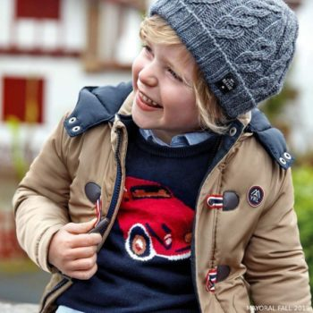 Mayoral Boys Blue & Red Car Cotton Knit Sweater