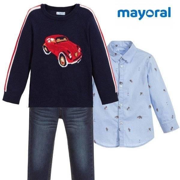 Mayoral Boys Blue & Red Car Cotton Knit Sweater Blue Button Down Shirt Denim Jean Pants