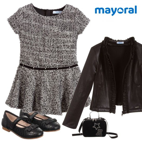 Mayoral GIRL Black White Classic Tweed Dress