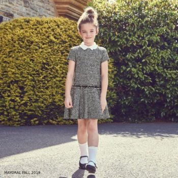 Mayoral GIRL Black White Classic Tweed Party Dress