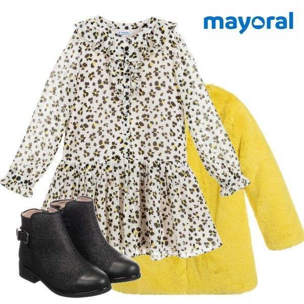 Mayoral Girl Black White Leopard Print Chiffon Dress Yellow Faux Fur Coat