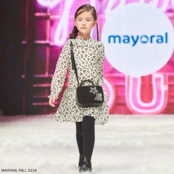 Mayoral Girl White & Black Leopard Print Chiffon Dress