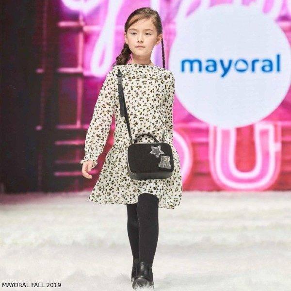 Mayoral Girl White & Black Leopard Print Chiffon Dress