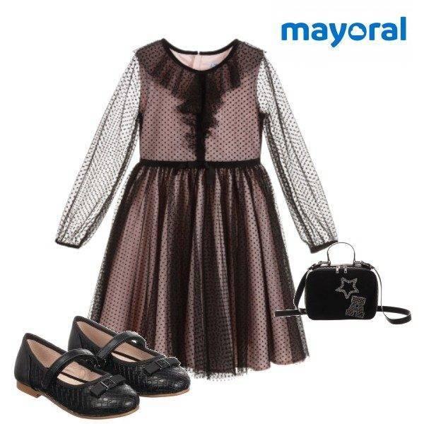 Mayoral Girls Black & Pink Tulle Dress Black Party Shoes