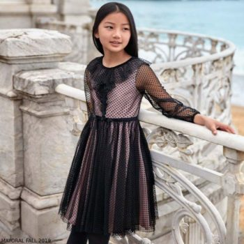 Mayoral Girls Black & Pink Tulle Party Dress