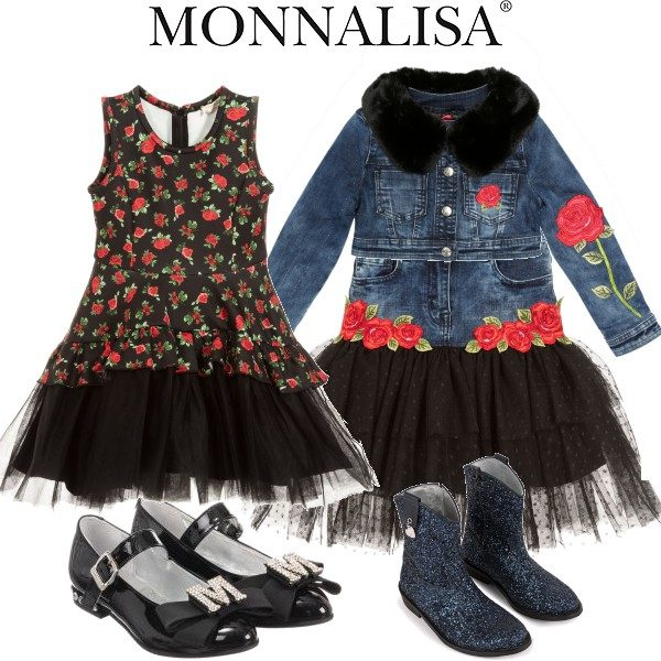Monallisa Denim Blue Skirt Black Tulle Jacket Faux Fur Black Rose Dress