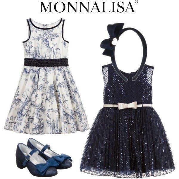 Monnalisa Chic Girl Navy Blue Sequin Party Dress Ivory Blue Toile de Joie Print Dress
