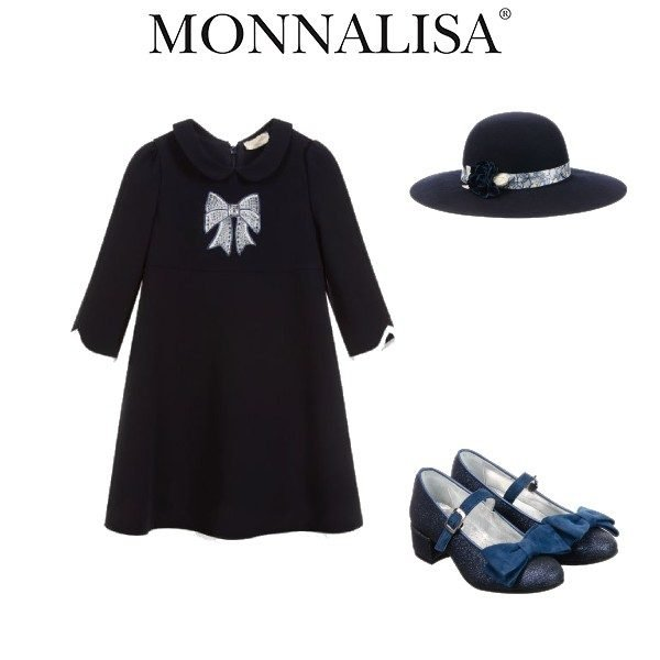 Monnalisa Chic Girls Navy Blue Bow Crepe Party Dress Blue Wool Hat