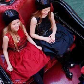 Monnalisa Chic Red Taffeta Ruffle & Sequin Party Dress