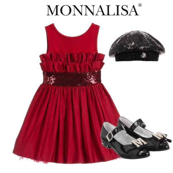 Monnalisa Chic Red Taffeta Ruffle & Sequin Special Occasion Dress