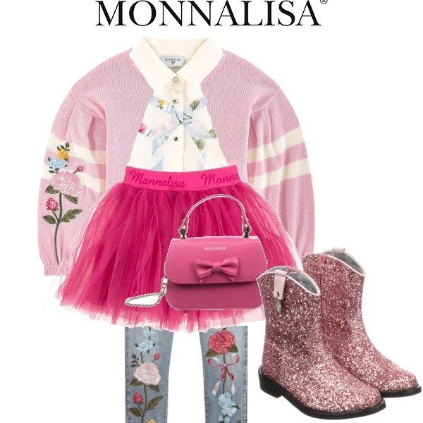 Monnalisa Girl Pink Cardigan Sweater Tutu Skirt Embroidered Denim Jeans Outfit