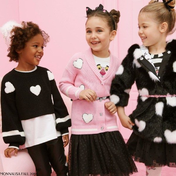 Monnalisa Girl Pink Panther Heart Cardiagn Sweater Black Tulle Skirt