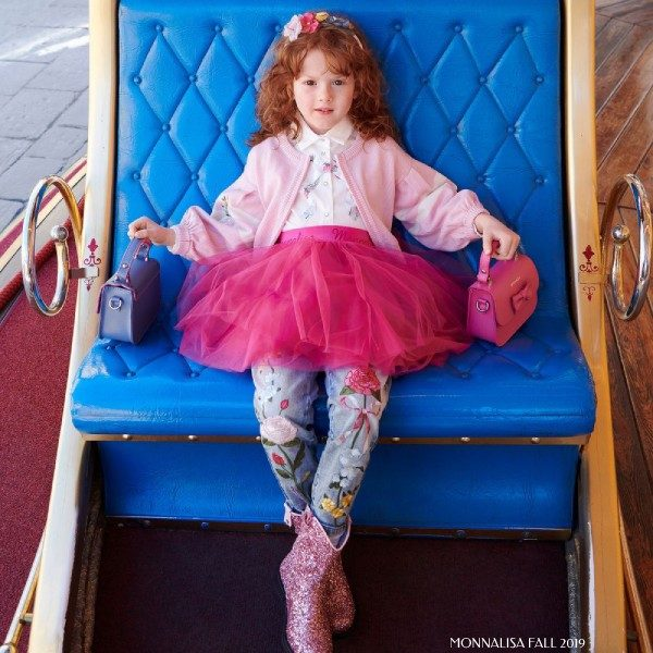 Monnalisa Girl Pink Tulle Skirt & Floral Embroidered Jeans Outfit