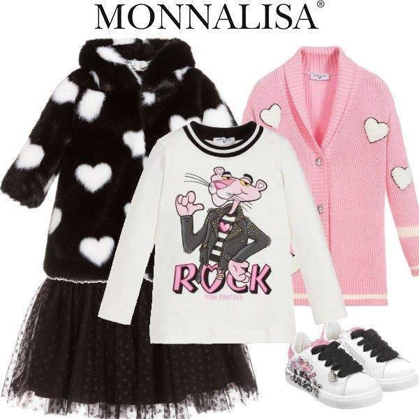 Monnalisa Pink Panther Rock Tshirt Pink Heart Cardigan Black Tulle Skirt