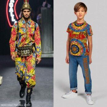 Moschino Boy Mini Me Red Blue Yellow Roman Scarf Print Tshirt