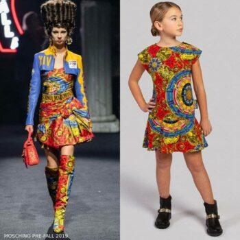 Moschino Girl Mini Me Red Blue Yellow Roman Scarf Print Dress