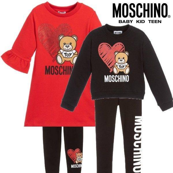 Moschino Girl Red Teddy Toy Heart Logo Dress & Black Heart Sweatshirt