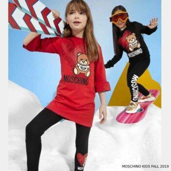 Moschino Girl Red Teddy Toy Heart Logo Dress & Black Sweatshirt