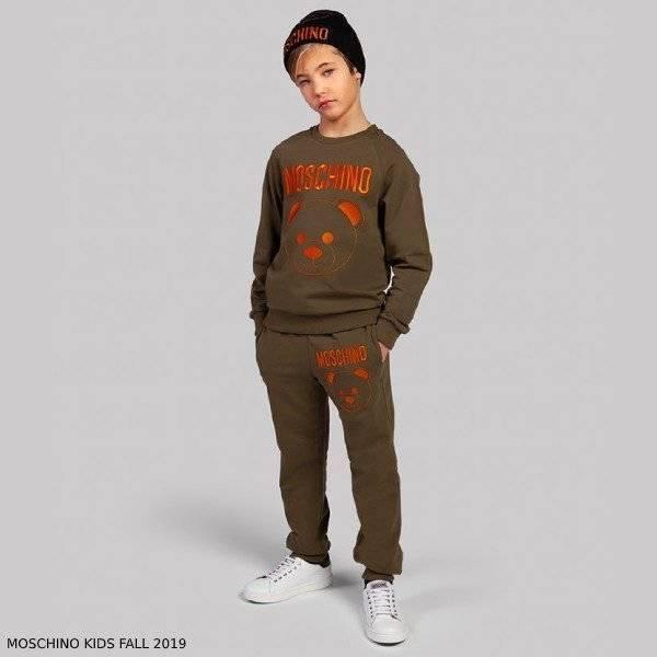 Moschino Boy Mini Me Green Teddy Logo Sweatshirt Jogger Pants