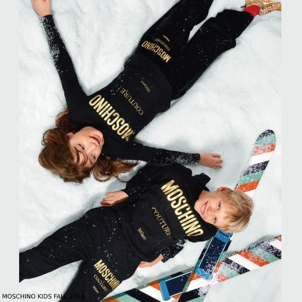 Moschino Kids Mini Me Black Gold Couture Milano Sweatsuit