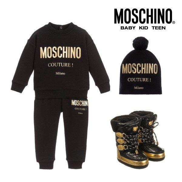 Moschino Kids Mini Me Black Gold Couture Milano Sweatsuit Hat Boots