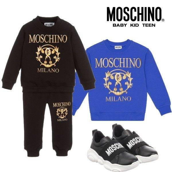 Moschino Kids Mini Me Blue Black Milano Roman Double Question Mark Sweatsuit