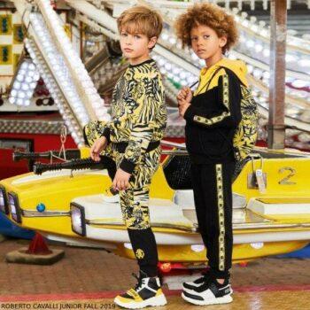 Roberto Cavalli Boys Black & Yellow Tiger Zip-Up Hoodie Sweatshirt Joggers