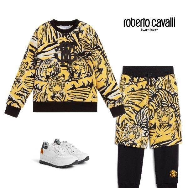 Roberto Cavalli Boys Yellow & Black Tiger Print Logo Sweatshirt & Layered Track Pants