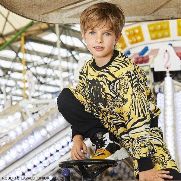 Roberto Cavalli Boys Yellow & Black Tiger Print Sweatshirt & Layered Track Pants