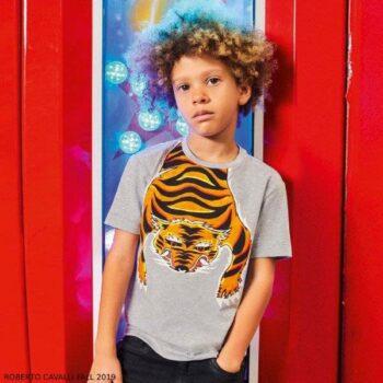 Roberto Cavalli Junior Boys Grey Tiger Body Tshirt Black Joggers