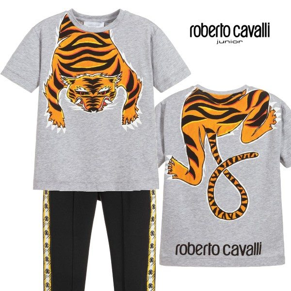 Roberto Cavalli Junior Boys Grey Tiger Body Tshirt Black Joggers Outfit