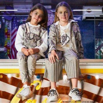 Roberto Cavalli Junior Girl Python Print Hoodie & Gold Pleated Culottes