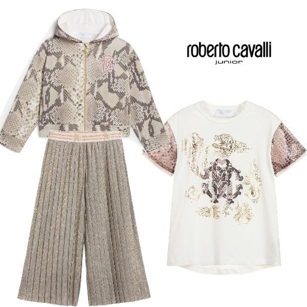 Roberto Cavalli Junior Girl Python Print Hoodie & Gold Pleated Culottes Outfit