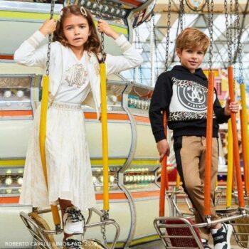 Roberto Cavalli Junior Girl White & Gold Zip Up Sweatshirt & Ivory & Gold Georgette Skirt