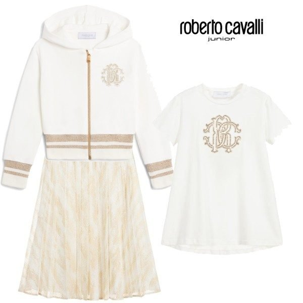 Roberto Cavalli Junior Girl White & Gold Zip Up Sweatshirt & Ivory & Gold Georgette Skirt Outfit