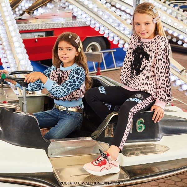 Roberto Cavalli Junior Girls Blue & Pink Leopard Print Sweatshirt & Leggings