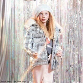 Sonia Rykiel Enfant Girls Silver Puffer Jacket