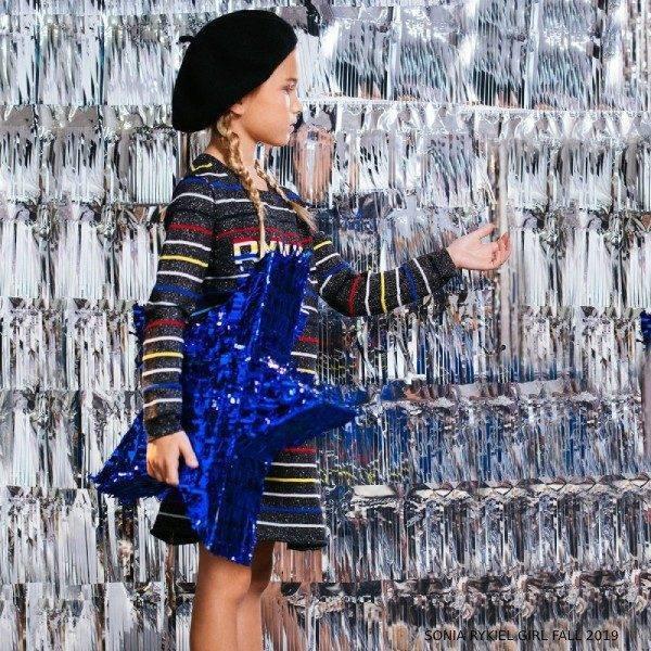 Sonia Rykiel Paris Girl Knitted Glittery Striped Dress