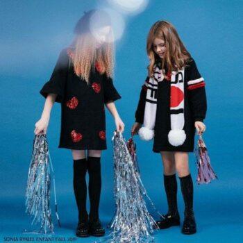 Sonia Rykiel Paris Girls Black Red Sequin Hearts Dress