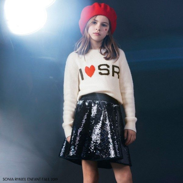 Sonia Rykiel Paris Girls Ivory Heart Logo Sweater Black Sequin Skirt