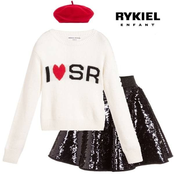 Sonia Rykiel Paris Girls Ivory Heart Logo Sweater Black Sequin Skirt Red Beret