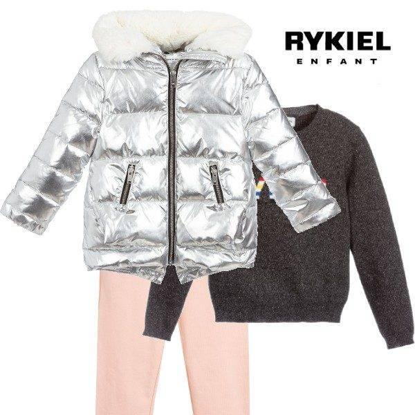 Sonia Rykiel Paris Girls Silver Puffer Jacket Girl Pink Jogger Pants