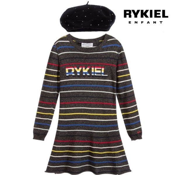 Sonia Rykiel Paris Knitted Glittery Striped Dress Black Beret