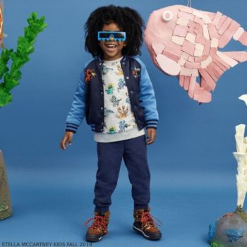 Stella McCartney Kids Boys Blue Dragon Satin Bomber Jacket