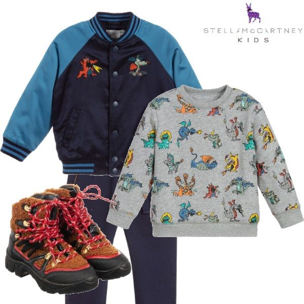 Stella McCartney Kids Boys Blue Dragon Satin Bomber Jacket Dragon Sweatshirt