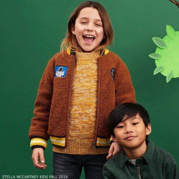 Stella McCartney Kids Boys Brown Teddy Fleece Space Jacket
