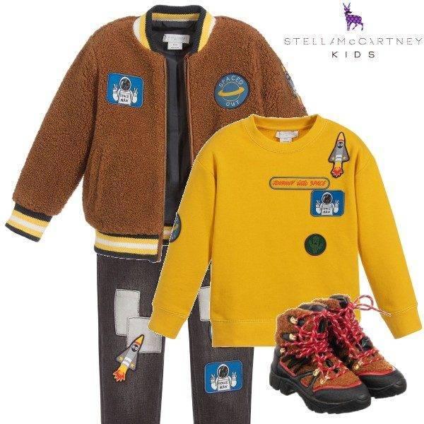 Stella McCartney Kids Boys Brown Teddy Fleece Space Jacket Denim Jeans