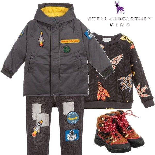 Stella McCartney Kids Boys Grey Space Padded Coat Patch Jeans