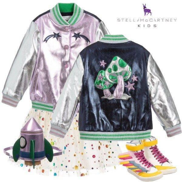 Stella McCartney Kids Metallic Purple Faux Leather Cosmic Mushroom Jacket